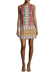 Maggy London Stained Glass Paisley Dress White Multi