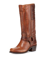 Harness Americana Tall Leather Boot Tan Frye