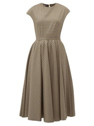 Rochas Full Skirt Checked Wool Blend Midi Dress Brown Multi