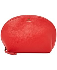 Fossil Gifting Leather Cosmetics Bag Real Red