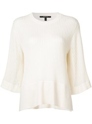 Derek Lam Ribbed Loose Fit Blouse Women Silk Cashmere L White