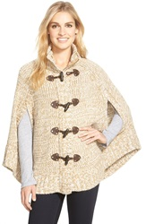 Michael Michael Kors Toggle Front Sweater Knit Cape Dark Camel