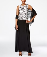Alex Evenings Sleeveless Floral Print Gown And Shawl White Black