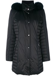 Guy Laroche Fur Trimmed Padded Coat Polyester Feather Goose Down Black