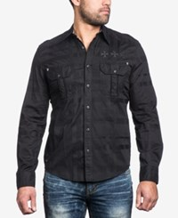 Affliction Men's Battlefield Woven Cotton Shirt Black Camo