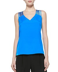 Nanette Lepore Othello Caged Silk Tank Electric Blue