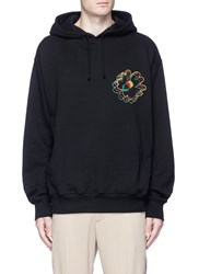 Stella Mccartney Floral Embroidered Organic Cotton Hoodie Black