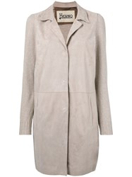 Herno Single Breasted Coat Women Cotton Goat Skin Polyester Acetate 46 Nude Neutrals