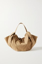 Nanushka Inda Faux Leather Trimmed Knotted Shell Tote Beige