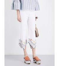 See By Chloe Floral Embroidered Cropped Cotton Poplin Trousers White