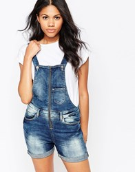 Blend She Zip Front Dungaree Shorts Blue