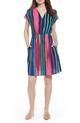 Halogen Faux Wrap Dress Navy Multi Painted Stripe