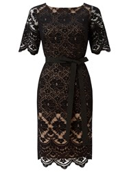 Jacques Vert Lace Contrast Shift Dress Black