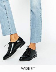 Asos Make Up Wide Fit Leather Brogues Black