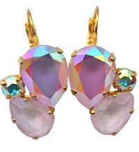 Isabella Tropea Crystal Pear Cluster Earrings Powder Rose Ab And Powder Rose Gold