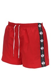 Dsquared Maple Leaf Band Nylon Swim Shorts Red