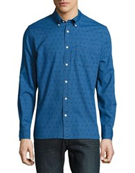 Baffin Patterned Chambray Sportshirt Navy