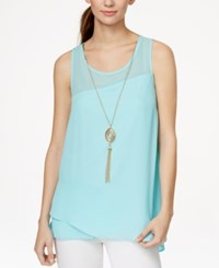 Amy Byer Bcx Juniors' Asymmetrical Hem Tank Top With Necklace