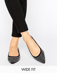 Asos Liezel Wide Fit Embellished Pointed Ballet Flats Black