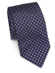 Eton Of Sweden Floral Printed Silk Tie Blue