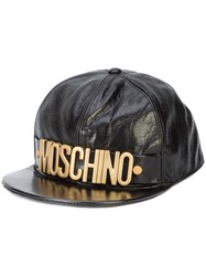 Moschino Logo Crinkled Baseball Cap Black
