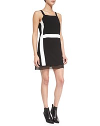 Parker Arden Strapped Colorblock Mini Dress Black