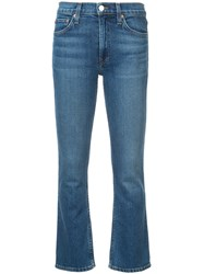 Re Done Comfort Stretch Mid Rise Kick Flare Jeans Blue