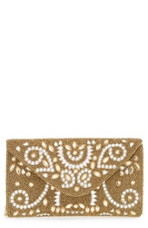 Glint Beaded Crystal Envelope Clutch Gold Clear