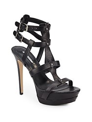 Bcbgeneration Veronika Strappy Leather Sandals Black