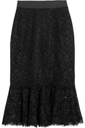 Dolce And Gabbana Fluted Guipure Lace Skirt Black