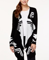 Material Girl Juniors' Eye Of Providence Cardigan Sweater Only At Macy's Caviar Black
