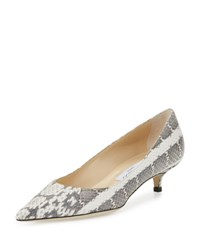 Jimmy Choo Amelia Snakeskin Kitten Heel Pump Natural Gray Black Natural Grey Blk