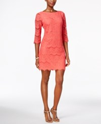 Jessica Howard Petite Scalloped Lace Dress Coral