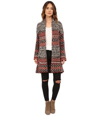 Free People Iona Pattern Wrap Cardi Charcoal Combo Women's Sweater Gray