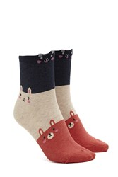 Forever 21 Bunny And Bear Crew Socks