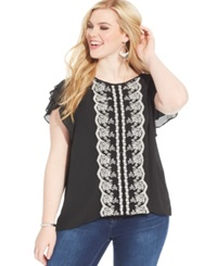Ing Plus Size Flutter Sleeve Embroidered Chiffon Top Black