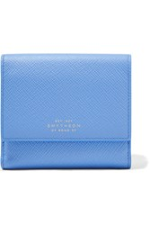 Smythson Panama Textured Leather Wallet Sky Blue