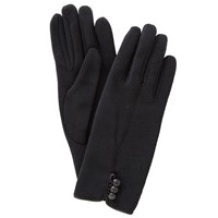 John Lewis Jersey Button Gloves One Size Black