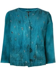 Avant Toi Distressed Overdyed Cropped Jacket Women Cotton Linen Flax Polyamide Cashmere M Blue