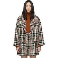 Red Valentino Black And Check Tweed Coat