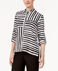 Alfred Dunner Petite City Life Striped Blouse Black White