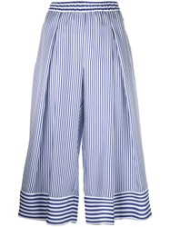 P.A.R.O.S.H. Striped Cropped Trousers Women Silk M Blue