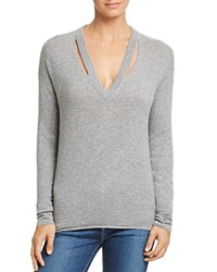 Minnie Rose Cutout Cashmere Sweater Silver Gray