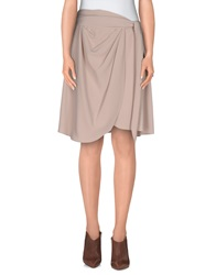 Galliano Knee Length Skirts Beige