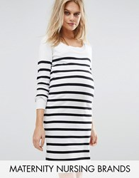 Mama Licious Mamalicious Nursing Striped Knitted Long Sleeve Dress White