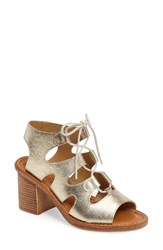 Bella Vita Women's Bre Lace Up Block Heel Sandal Gold Leather