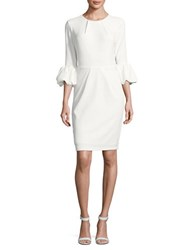 Betsy And Adam Pleated Bubble Sleeve Sheath Dress White