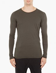Thom Krom Olive Long Sleeved Panelled T Shirt Green