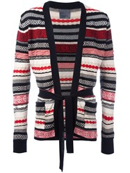 Laneus Multi Pattern Belted Cardigan Black