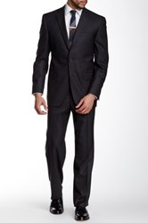 David Donahue Ryan Charcoal Two Button Notch Lapel Classic Fit Wool Suit Black